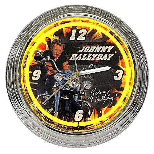 Neón moto-Reloj de pared, diseño de Johnny Hallyday