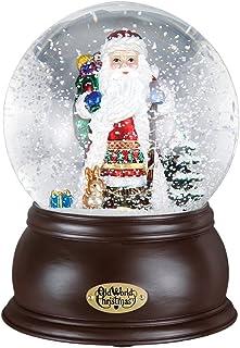 Mercks Old World Musical Fanciful Santa Snow Globe 54001