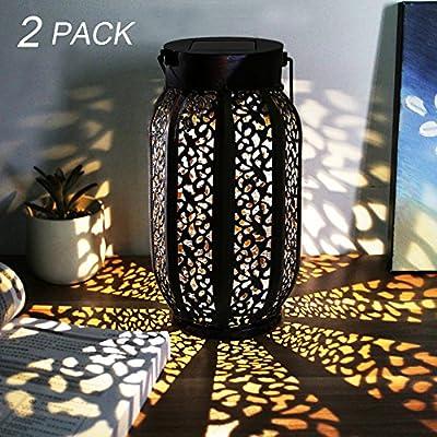 Maggift 12 Lumens Hanging Solar Lights Outdoor Solar Lights Retro Hanging Solar Lantern with Handle