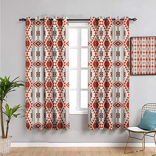 southwestern Blackout Curtain, Curtains 84 inch length folkloric aztec triangle ornament ancient tribe and culture Bathroom curtain chesnut brown seafoam orange W108 x L84 Inch