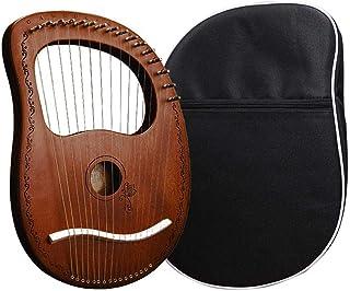 niyin204 Lyre Harp, 16 cuerdas de lira, caoba, instrumento de cuerda de metal con bolsa de transporte para los amantes de los instrumentos eficientes, marrón