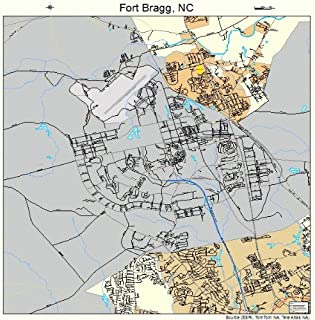 Image Trader Large Street & Road Map of Fort Bragg, North Carolina NC - Printed Poster Size Wall Atlas of Your Home Tow