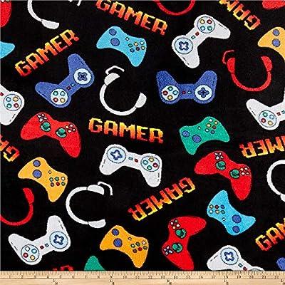 Newcastle Fabrics Whisper Fleece Video Games Black Fabric Fabric by the Yard