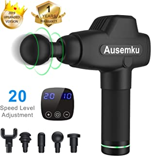 Massage Gun deep Tissue Tapping Muscle Massager for Pain Relief, Portable 20-Speed,Ultra-Quiet brushless Motor Professional Electric Body Massager Sports Drill Ausemku