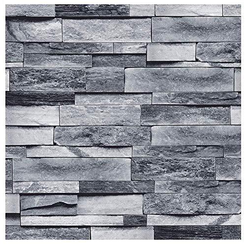 Wand-Aufkleber Murals lösbare Tapeten Borders Verdickte Stone Brick-Effekt Tapete Selbstklebendes 3D-Bilder Einfache Industrieausführung Kontakt-Papier dekorative Wand-Aufkleber Grau-Ton Stone Brick 4