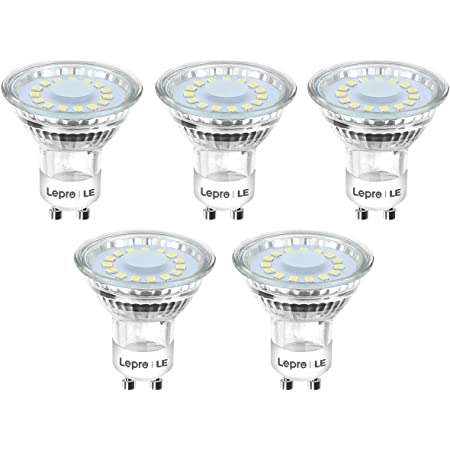 Lepro GU10 LED Bulbs, Daylight White 5000K, 50W Halogen Spotlight Equivalent, 4W 350lm, 120° Beam Angle, Glass, AC 220-240V, Pack of 5