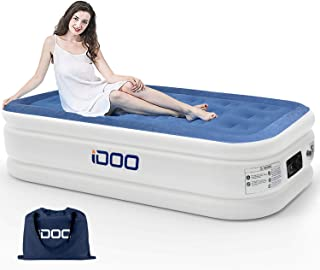 iDOO Air Mattress Twin Air Bed with Built-in Pump Inflatable Blow Up Air Mattress for Guest Family Camping Premium Soft Flocked Top with Storage Bag and Repair Patches Size 74 x 39 x 18 inch Blue