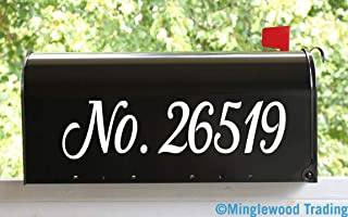 """White - Custom Text for Mailbox or House - 3"""" Tall x 11.5"""" Wide - Vinyl Decal Sticker Numbers Name Address - Kathya- 20 Color Options"""