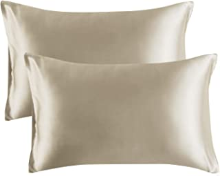 Bedsure Satin Pillowcase for Hair and Skin, 2-Pack – Standard Size (20×26..
