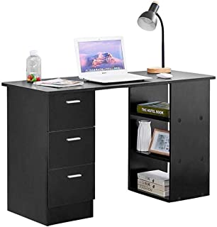 Yyl Table Bureau Noir Moderne Ordinateur avec 3 tiroirs et 3 tablettes de Rangement 4 FT / 120cm for Office Accueil Simple...