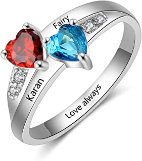 Suxerlry Personalized Sterling Silver 925 Name Ring Custom Cut Out Statement Rings