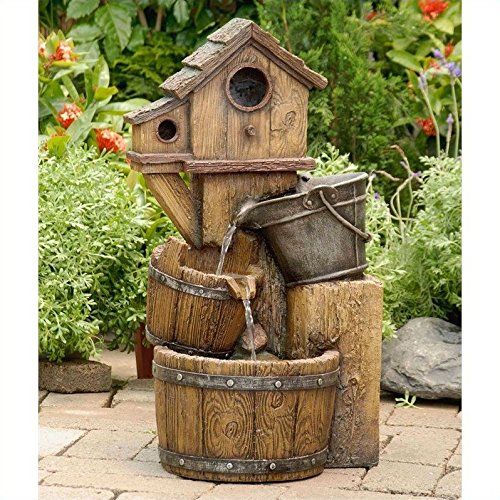 Pemberly Row Bird House Outdoor Water Fountain Without Light