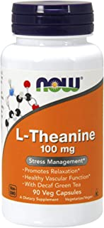 NOW Supplements, L-Theanine 100 mg with Decaf Green Tea, 90 Veg Capsules