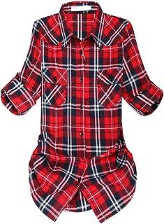 قميص نسائي منقوش من الفلانيل بأزرار لأسفل، أكمام متوسطة الطول قابلة للطي