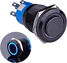 Ulincos Latching Push Button Switch U19C2 1NO1NC SPDT ON/Off Black Metal Shell with Blue LED Ring Suitable for 19mm 3/4