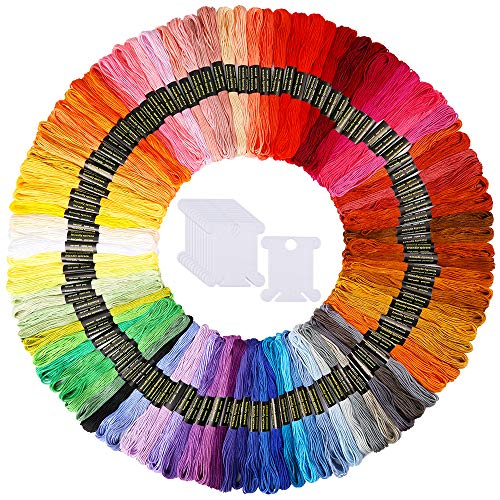 Caydo 100 Skeins Embroidery Floss, Friendship Bracelets String with 12 Pieces...
