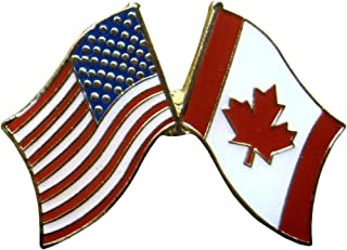 Crossed United States of American & Canadian Flags Enamel Pin
