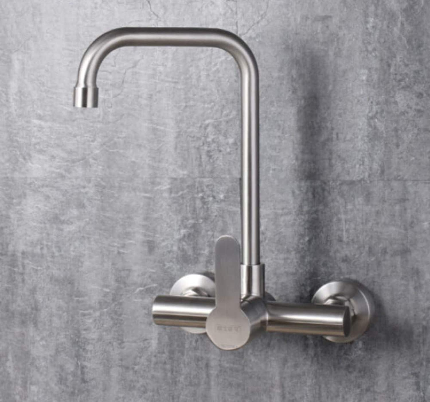 Faucet Waste Mono Spoutstainless Steel Wall-Mounted Hot and Cold Kitchen 360° Universal redating Concealed Bathroom