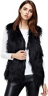 Womens Soft Sleeveless Faux Fur Vest Gradient Waistcoat Jacket