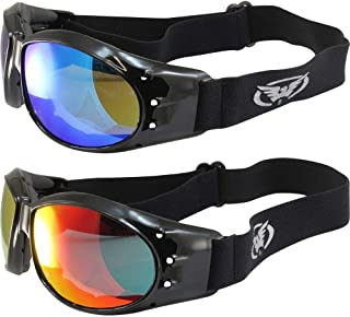 Two Pairs of Global Vision Eliminator Padded Riding Goggles Black Frames 1 with Red Mirror Lens and 1 with Blue Mirror Lens