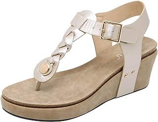 PAQOZ Women's Sandals, Fashion Casual Flip Flops Buckle Strap Wedges Sandals Platforms Shoes