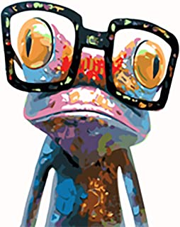 """DIY Plaid Oil Paint by Numbers Acrylic Painting Kit for Adults & Kids 16"""" x 20"""", Drawing Paintwork with Paintbrushes Acrylic Pigment (Frog with Glasses)"""