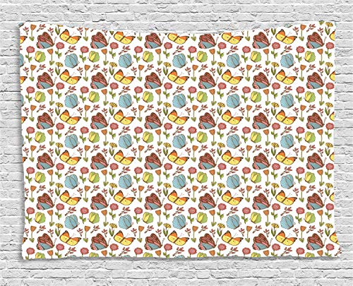 ABAKUHAUS Floral Tapiz de Pared, Planta De Rosa Mosqueta Y Peony, para el Dormitorio Apto Lavadora y Secadora Estampado Digital, 150 x 100 cm, Multicolor