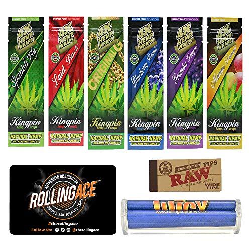 Rolling Ace Hemp Wraps Bundle – 9 Items Flavored Kingpin Hemp Wraps Bundle: Spanish Fly, Laid Back, Original, Black Bomb…