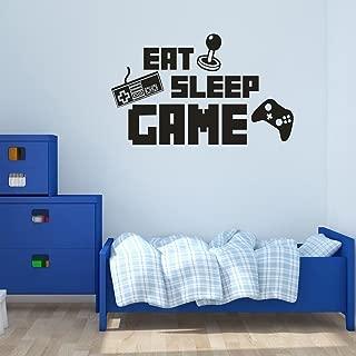 BIBITIME DIY English Sayings Quotes EAT SLEEP GAME Wall Decal Keyboard Handle Silhouette Sticker for Boys Bedroom Kids Room Decor Internet Bar Video Arcade Art Mural
