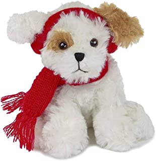 Bearington Chilly Plush Stuffed Animal Brown and White Dog with Scarf, 7.5 inches