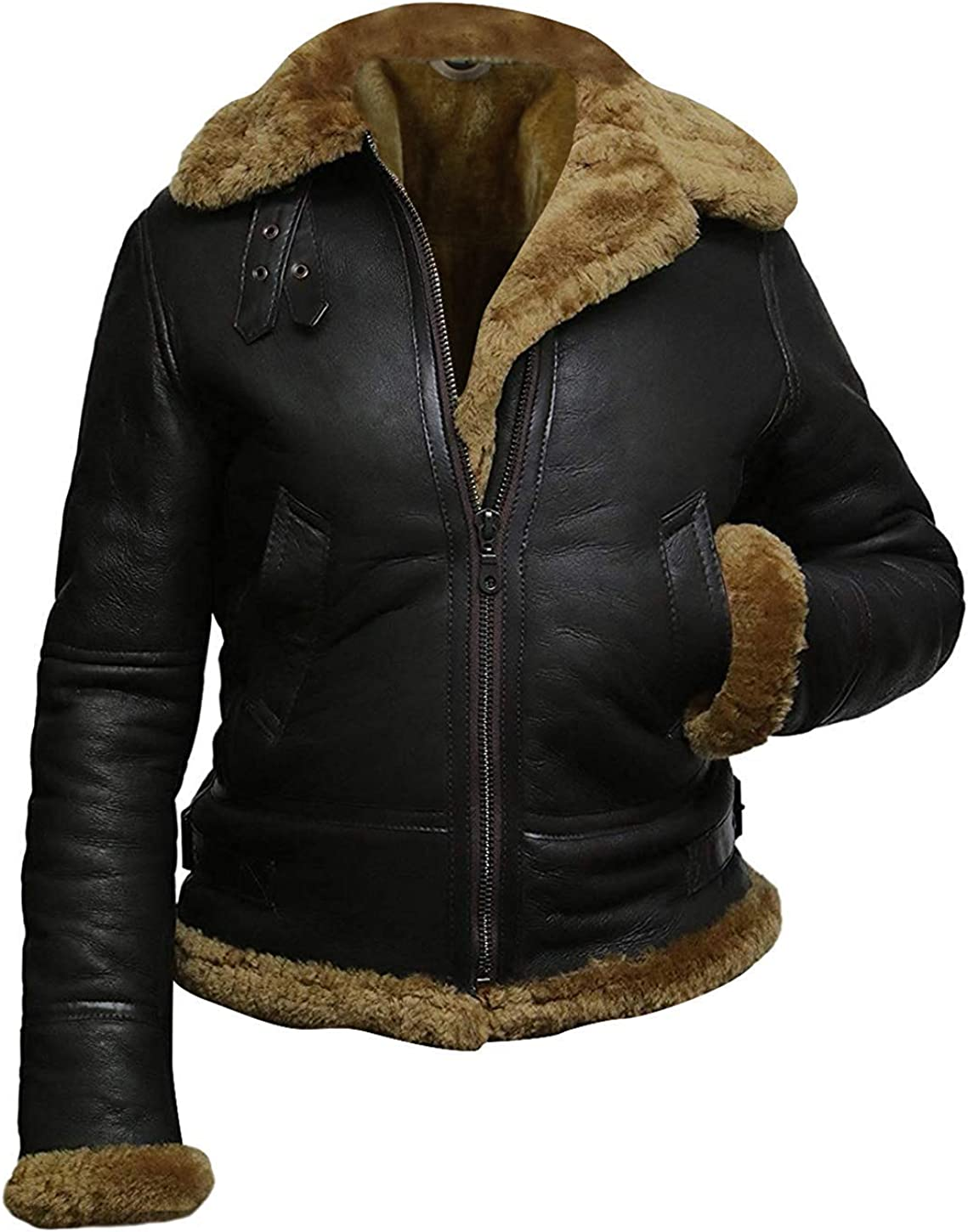 New Women Black B3 Bomber Real Leather Faux Fur Shearling Jacket Hoodie