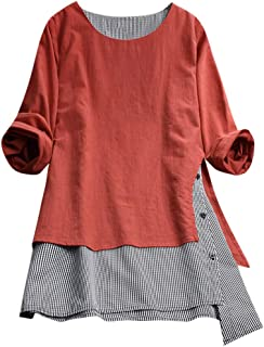 OrchidAmor Womens Casual Button Plus Size Splice Cotton Tops Tee Shirt Lattice Loose Blouse Pocket Tee Shirts Womens