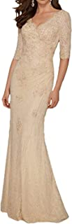 PearlBridal Women's V Neck Lace Mermaid Mother of The Bride Dresses Half Sleeves Long Evening Gowns