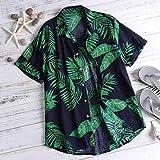 Camisas para Hombre Camisa para Hombre Verano Estampado Floral Playa Camisa Casual De Manga Corta Tops Camisas Tops M Verde