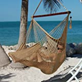 Caribbean Hammocks Polyester Hanging Chair, Large, 48' L, Tan