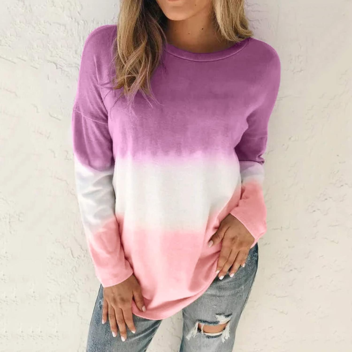 AODONG Hoodies for Women Long Sleeves Tie Dye Color Block Casual Sweatshirts Pullover Tops Blouse