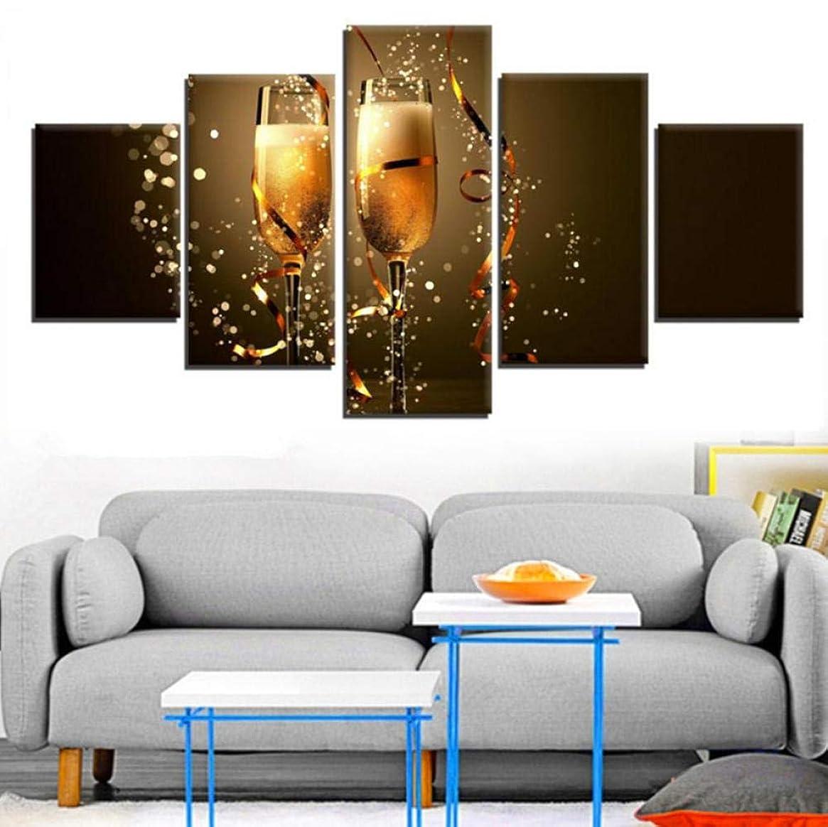 色合い偽善ギャングキャンバス壁アート写真家の装飾フレームワーク5ピース乾杯新年絵画HDプリントクリスマスシャンパンポスター
