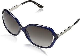 GUCCI Women's GG0076S Sunglasses, Blue-Silver-Grey, 60