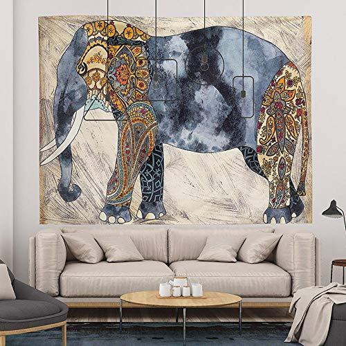ZHANGXIANG Tapiz Pared Revestimiento De Paredes Fondo Tela Dormitorio Decoración Habitación Tapiz Fondo Vivo Tela Colgante Felpa Pintura Rectangular-Elefante Acuarela_El 1M * Los 0.7M