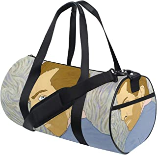 Duffle Sports Bags Light Man Portrait Artist Sketch Drawing for Women and Men Travel Art Gym Fitness Drum