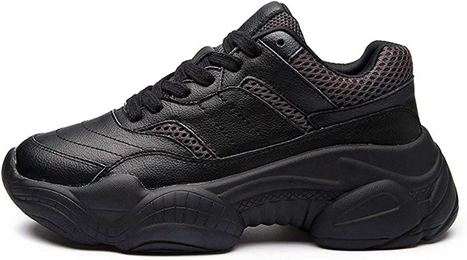 Women's Comfort Breathable Mesh Thick Sole Sports Dad shoes Lace Up Flat Platform Chunky Sneakers
