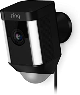 Ring Spotlight Wired Cam-Wi-Fi Smart Home Security Camera Black-Wired -Led lights- Two way talk - Full HD live video- O...