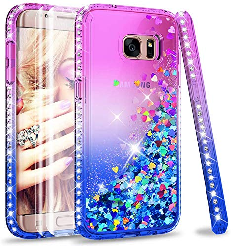LeYi Custodia Galaxy S7 Edge Glitter Case con Full Cover Curved 3D Pet Pellicola [2 Pack],Brillantini Diamond Silicone Sabbie Mobili Bumper per Custodie Samsung Galaxy S7 Edge ZX Purple Blue Gradient