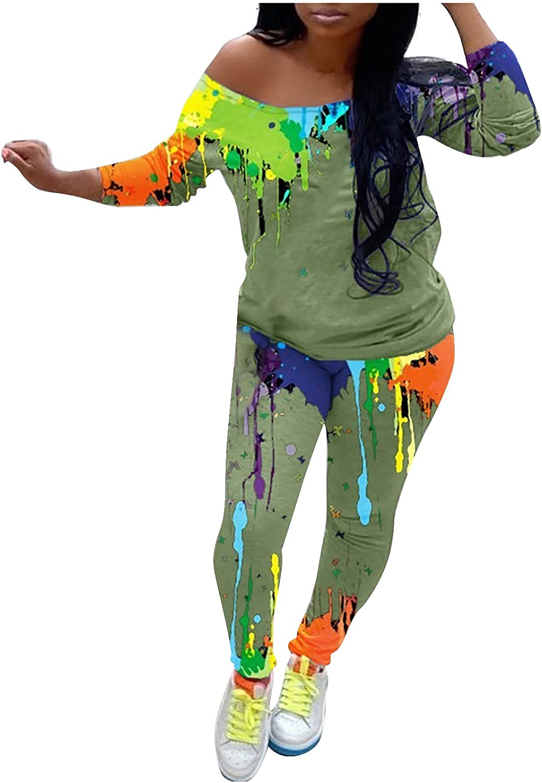 Women Two Piece Outfits Sets Long Sleeve Toe-dye Pullover Hoodie Sweatsuit Set Tracksuits Sport Loungewear Pajamas