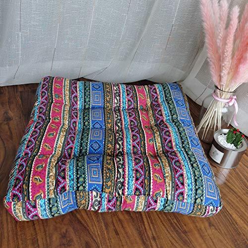 JINMURY Cojín cuadrado grande de piso de 55,88 cm, cojines de meditación, diseño de mandala, asiento indio, tatami, alfombras para sala de estar, guardería, balcón, jardín, rayas azules
