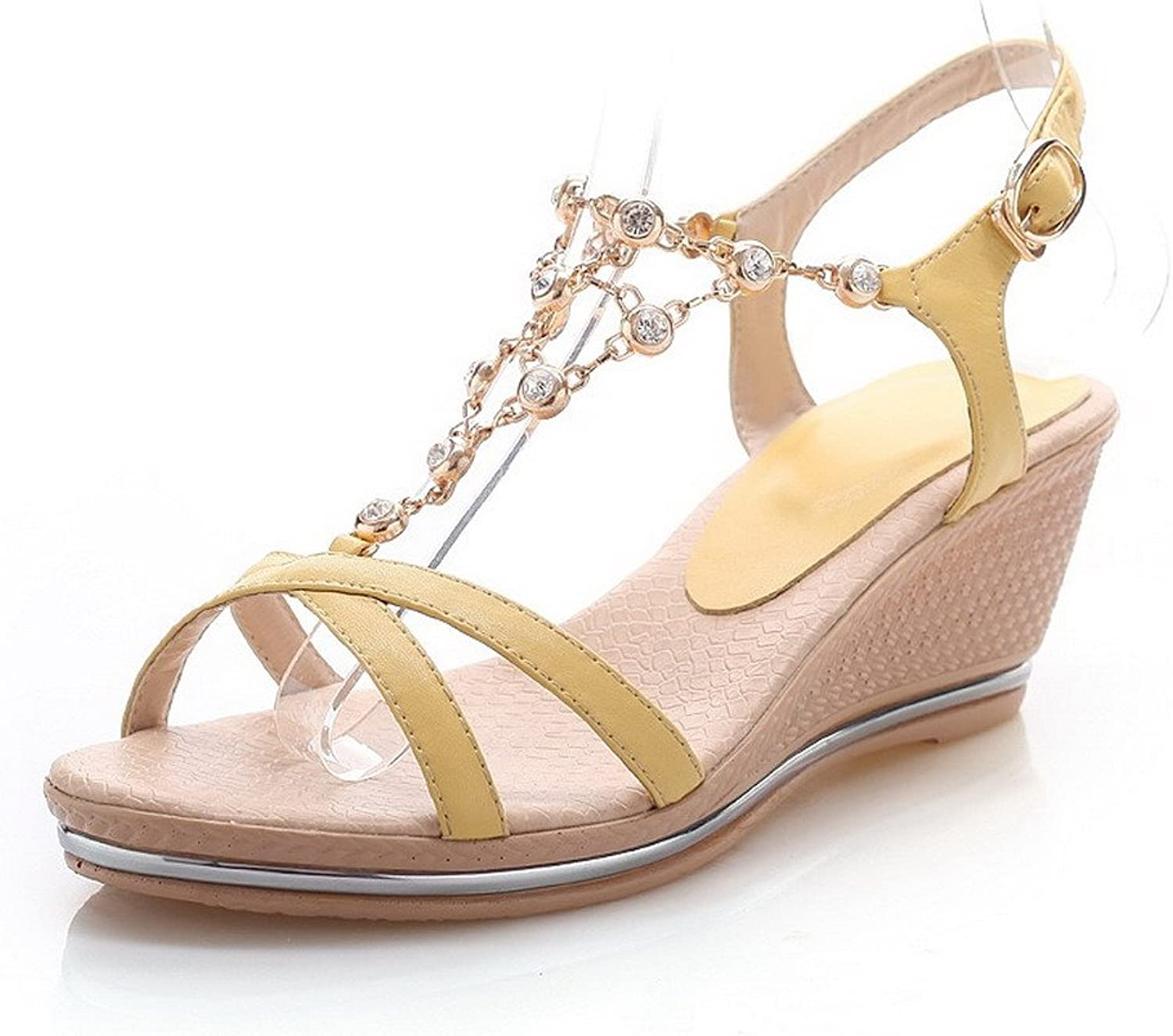 AmoonyFashion Women's Open Toe Kitten Heels Soft Material Solid Buckle Sandals