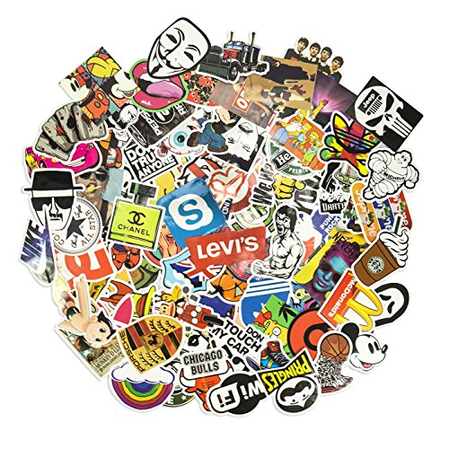 100 Aufkleber/Sticker - Retro-, Graffiti- Style, Reisen, Marken für Skateboard, Snowboard, Koffer, Notebook, Auto, Fahrrad & UVM. - Auto-Dress® (Set-7)