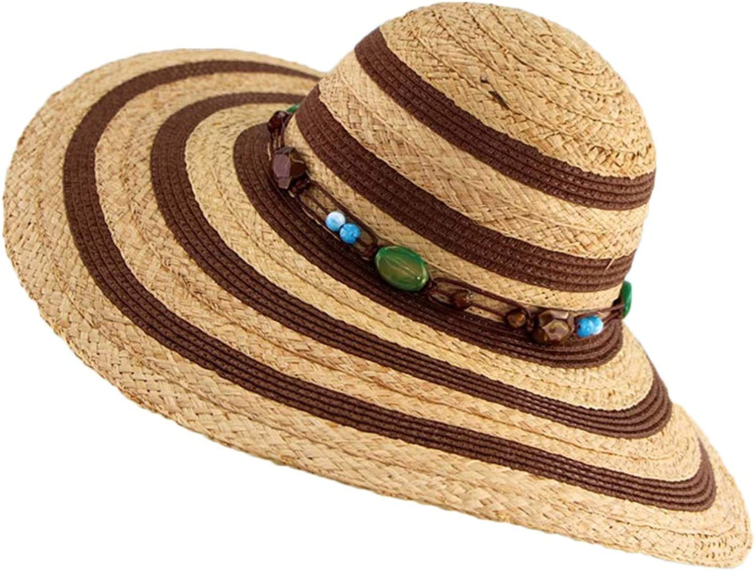 Carriemeow in Spring and Summer, Hats Can Be Folded in A Hat with A Sun Visor Hat. Sunhat (color   Brown, Size   M)