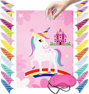 Pin The Horn on The Unicorn Party Game Birthday Party Favor Games Unicorn Party Supplies Kids Party Supplies with a Large 21