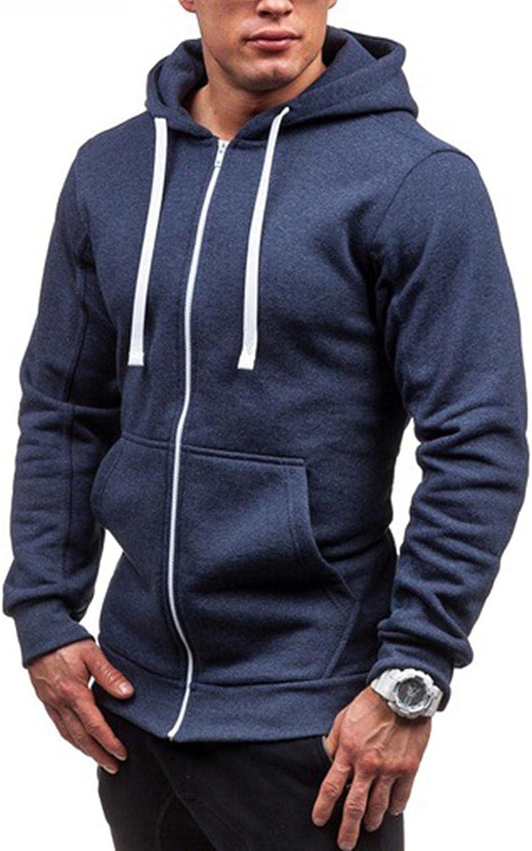 Beppter Men's Hoodies Sweatshirt Solid Stitching Drawstring Slim Fit Fashion Jacket Zipper up Runing Sport Outwear Coat